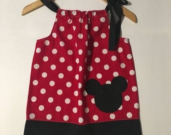 Pillowcase Dress Mickey Red and Black Polka // 12-24 months