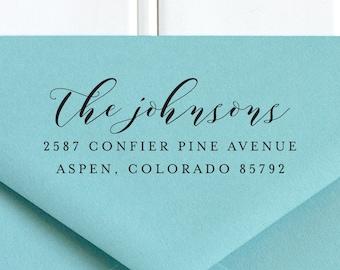 Return Address Stamp, Address Stamp, Self Inking Return Address Stamp, Wedding Return Address Stamp, RSVP Stamp, Calligraphy Stamp - No. 36