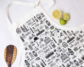 Brtish Apron – British gift – London illustration – gift for foodie – gift for him