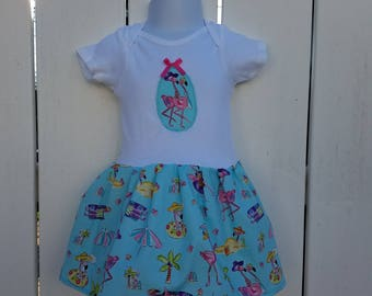 SALE- Size 18 Mos Light Blue Frolicking Flamingos Short Sleeve Onesie Dress  Li Li Fox Boutique