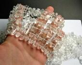 Quartz - Stick tube - Middle drill - full strand - 44 beads  -Dumortierite stick - PSC366