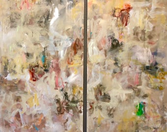 Large Abstract Expressionist Original Painting- Desert Light 2) 36 x 72