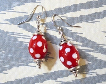Red and White Polka Dot Earrings (3664)