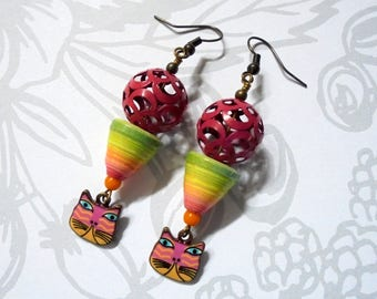 Hot Pink, Lime Green and Yellow Boho Cat Earrings (3785)