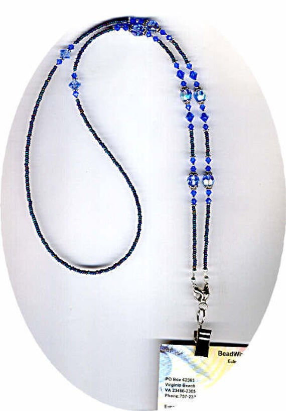 September Birthday Sapphire Blue Swarovski Crystal ID Badge Lanyard or Eyeglass Chain