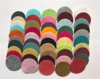Wool Felt Circles Die Cut 50 - 1 inch Random Colored 4092  - felted circles - circle die cuts - 1 inch circle die cut - headband supplies