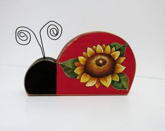 Lady Bug and Sunflower, Wood Shelf Sitter, Rustic Red Lady Bug with Sunflower, Red Lady Bug, Wire Antenna, Hand Crafted and Tole Painted