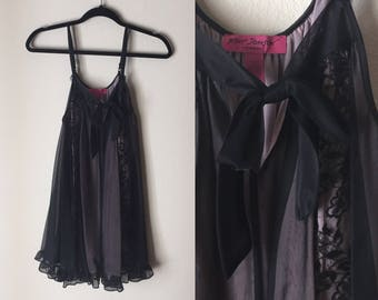 Betsey Johnson Slip | sheer lace bow tie spaghetti strap slip dress size small S medium M womens lingerie lounge wear vintage 90s cyber goth