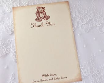 Teddy Bear Thank You Cards Personalized Baby Shower Set of 10