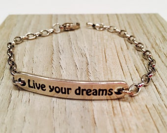 "Motivational ""Live your Dreams"" Bar with chain bracelet antique silver tone metal youthful inspirational jewelry"