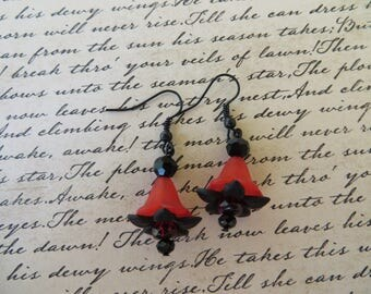 Black And Red Lucite Flowers And Crystals Earrings