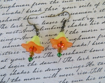 Yellow And Orange Frosted Lucite Flowers With Crystals Earrings