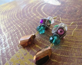 Beautiful Dangling Earrings With Crystals And Assorted Jewel Toned Beads