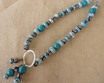 Blue Mosaic Magnesite Wood Bone And Dyed Jade Bead Necklace With Triple Strand Pendant