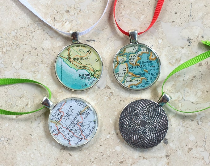 City Map Christmas Ornaments S/4