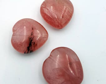 Strawberry Quartz Beads, Pink Beads, Natural Gemstone Bead, Pink Heart Beads, Beads for Jewelry Making, Smooth Heart Bead, Strawberry Quartz