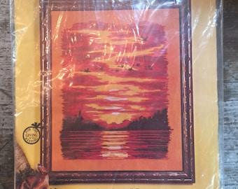 Vintage Paragon Needlecraft Creative Crewel Stitchery Sundown Picture