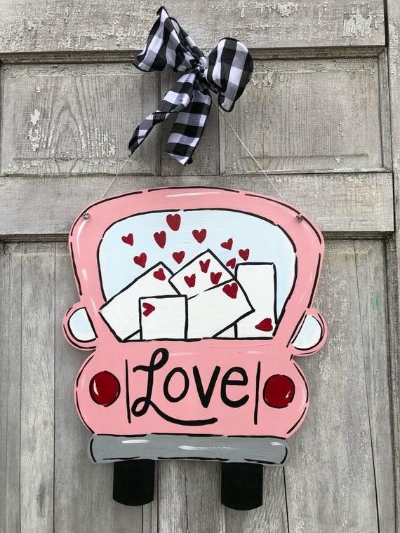 Valentine door hanger, red truck door hanger, vintage truck door hanger, Valentines Day door hanger, heart door hanger