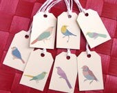 7 Ivory birds tags - Wrapping gift tag - Christmas Birthday Party Anniversary - Made to order labels