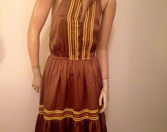 Betsey Johnson Brown Backless Sun dress M