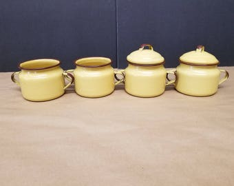 Set of 4 Vintage Yellow/Gold Enamelware Cups
