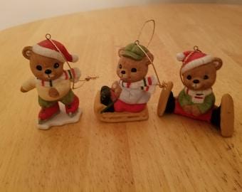 Vintage Set of Bear Ornaments