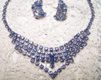 Blue Rhinestone Vintage Jewelry Demi Parure Emerald Cut Beautiful Collectible Cocktail VTG Choker Necklace and Earrings