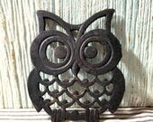 Vintage Cast Iron Owl Trivet, Retro Farmhouse Decor, Metal Counter Protector