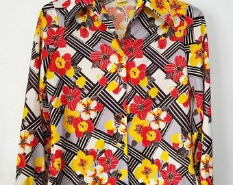 Yearly Big Sale: Vintage 70s 14 L Red Black Yellow Floral Disco Shirt Stretch Knit Smartee Togs