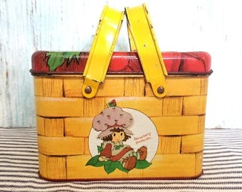Yearly Big Sale: Strawberry Shortcake Picnic Basket Tin with Handles, Yellow Tin with Red Berry Lid, Lunchbox