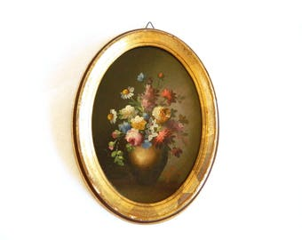 """Vintage Italian Hand Painted Bouquet of Flowers Picture - Gold Florentine Plastic Frame - 8 1/2 H x 6 1/2"""" W - Signed F LLI TESTORI Italy"""