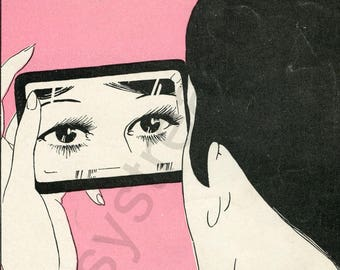 "Digital Ephemera for Collage, Scrapbooking and Cardmaking - ""Where'd You Get Those Eyes "" Instant Download - Vintage Inspired Illustration"