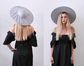 1960's Powder Blue Hat. Wide Brim. 60 sun hat. large. oversized. Chiffon. Bow