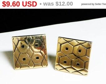 Spring Fling Sale Vintage Square Polkadot Cufflinks - Goldtone & Black Enamel Cuff Links - Mod Honeycomb Pattern - Mens Jewelry