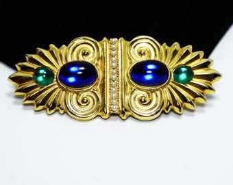 Modern Etruscan Style Brooch - Art Deco Design Pin with Cobalt Blue and Emerald Green Glass Cabochons - Vintage 1980's 1990's Jewelry