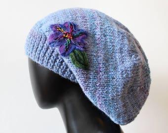 Dusky Blue Slouch Hat - Light Blue Slouchy Hat - Dusty Blue Beautiful Knitted Winter Hat - Blue Baggy Tam Hat with purple flower cornflower