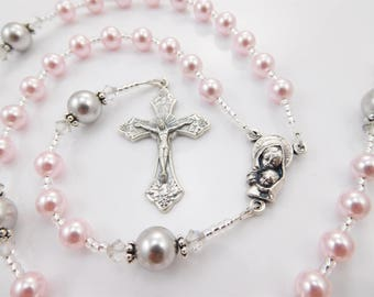 Pink and Gray Personalized Swarovski Baptism Rosary for a Little Girl - Baptism, First Communion, Confirmation Gift