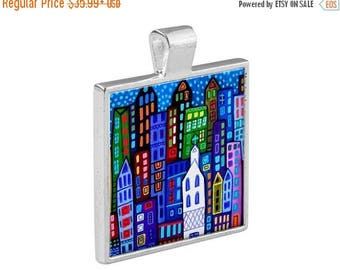 55% Off Today- NYC New York City Skyline Necklace Folk Art Jewelry - Pendant Metal  Gift Art Heather Galler Gift-  Travel  Modern