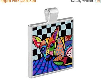 55% Off Today- Chihuahua Jewelry - Pendant Metal  Gift Art Heather Galler Gift-  Dog Lovers Abstract Modern Vegan Gifts