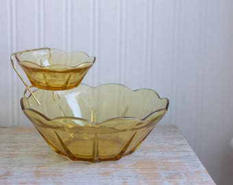 Vintage Chip Dip Set, Anchor Hocking Honey Gold Glass, 3 Piece Set in Original Box