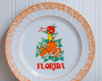 Vintage Disney World Orange Bird Plate, 1970's Retro Florida Kitsch Souvenir,