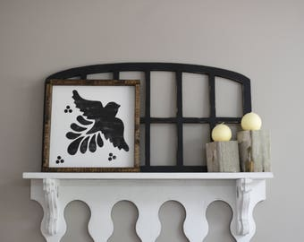 Mexican Tile Bird Distressed Framed Wood Sign