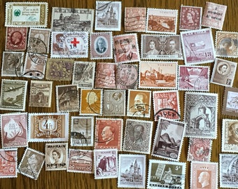 50 Brown Used World Postage Stamps for crafting, collage, cards, altered art, scrapbooks, decoupage, history, collecting, philately 11c