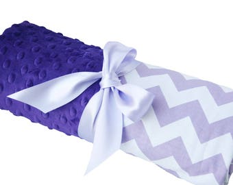 Stanndard Size Lavender and White Cotton Chevron Baby Blanket with Purple Dot Minky Back Standard Size 30x36