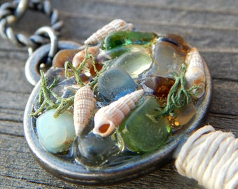 UNDER THE SEA Beach Glass Shell Treasure Mermaids Key Pendant Necklaces Ocean Jewelry Sea Glass Gifts Siren Keys Cobalt Blues Beach Lovers