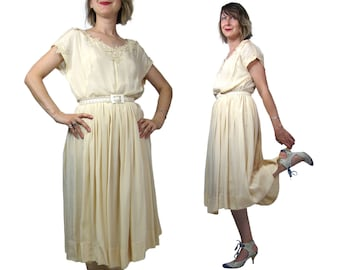 1940s Ivory Rayon Dress with Lace