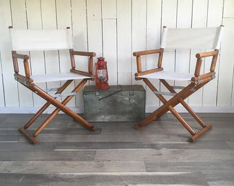 Pair of Vintage Wood & Canvas Folding Director's Chair - Natural White - Wheat Color