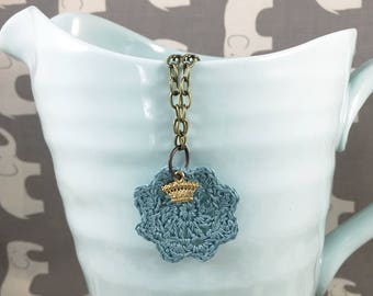 Teal Crocheted Doily Necklace with Gold-Plated Crown Charm - Honey, You Should See Me in a Crown Necklace // Subtly Sherlock-themed Jewelry