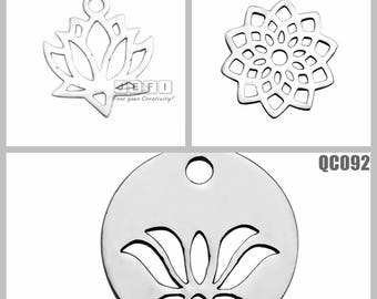 20PCS 316L Stainless Steel Lotus Charms Wholesale