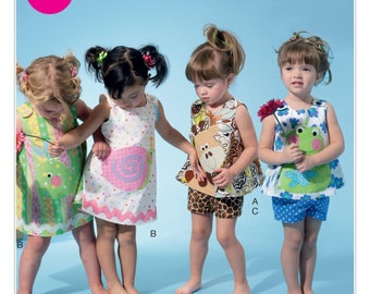 Sewing Pattern-McCall's  6541 Infants' Top, Dress, Shorts and Appliqués-Size nbn-xlarge